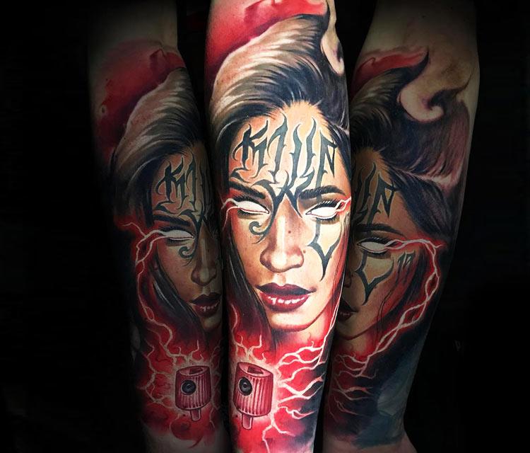Girl Face tattoo by Benjamin Laukis