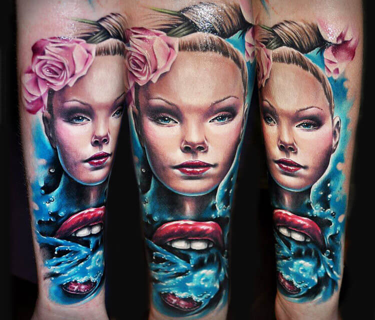 Girl portrait tattoo by Benjamin Laukis