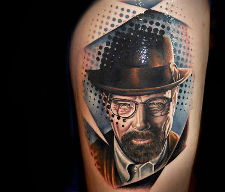Heisenberg portrait tattoo by Benjamin Laukis