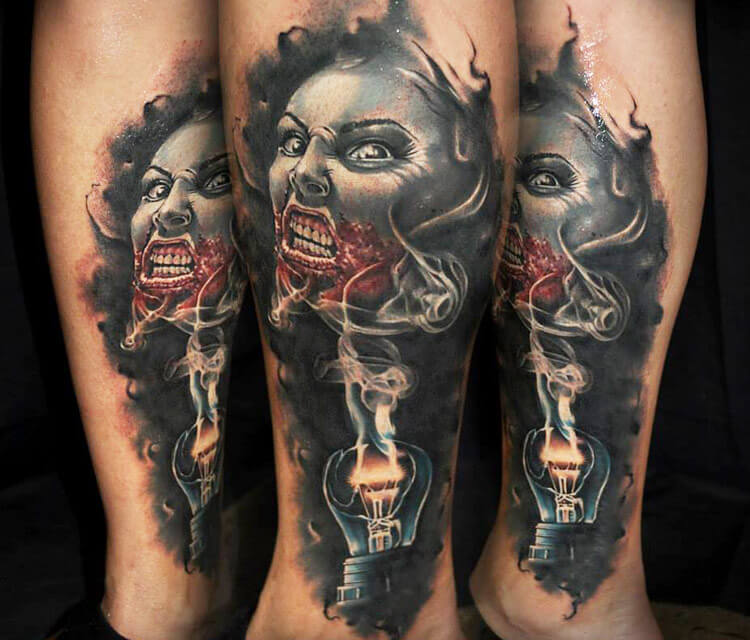 Horror face tattoo by Benjamin Laukis
