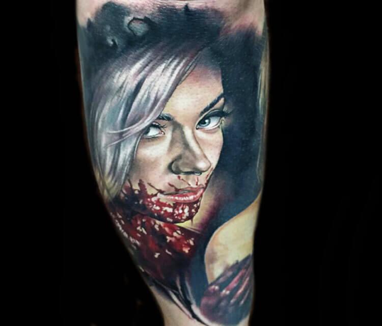 Horror portrait tattoo by Benjamin Laukis