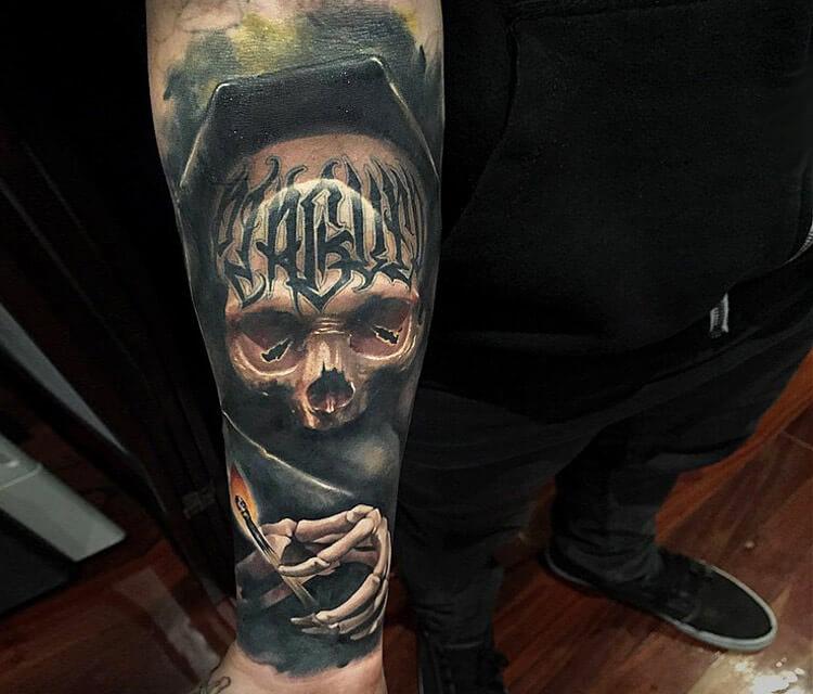 Inner Skull Grave tattoo by Benjamin Laukis