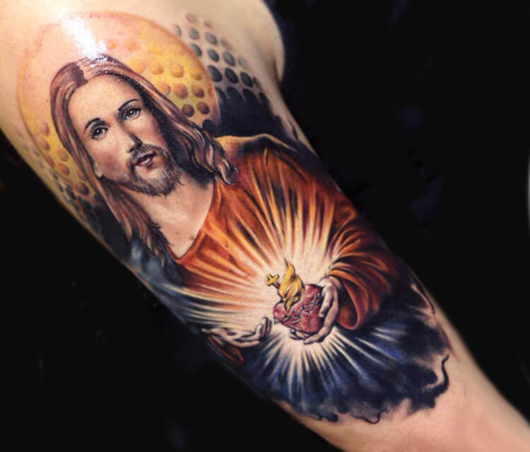 Tattoo of Jesus by Benjamin Laukis