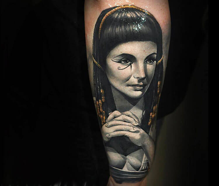 Portrait tattoo of Cleopatra by Benjamin Laukis