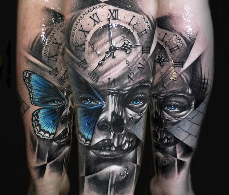 Mask tattoo by Benjamin Laukis