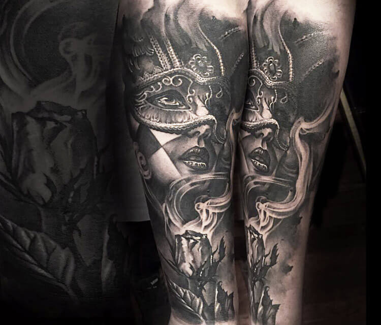 Black Mask Tattoo By Benjamin Laukis