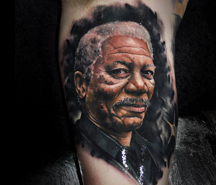 Portrait tattoo of Morgan Freeman by Benjamin Laukis