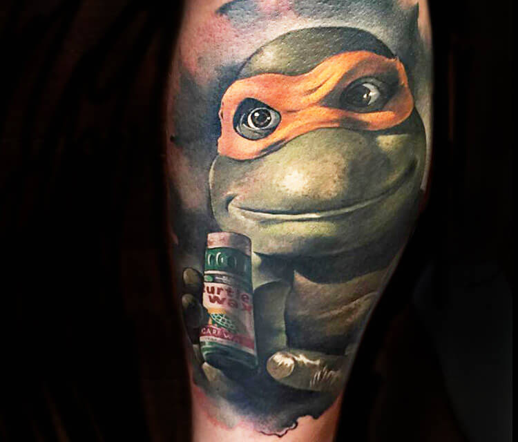 Portrait tattoo of Ninja Turtles by Benjamin Laukis