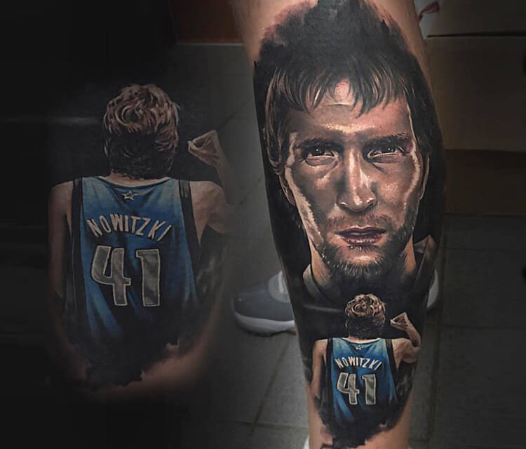 Portrai tattoo of Nowitzki by Benjamin Laukis