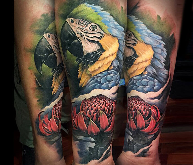 Parrot and Flower tattoo by Benjamin Laukis