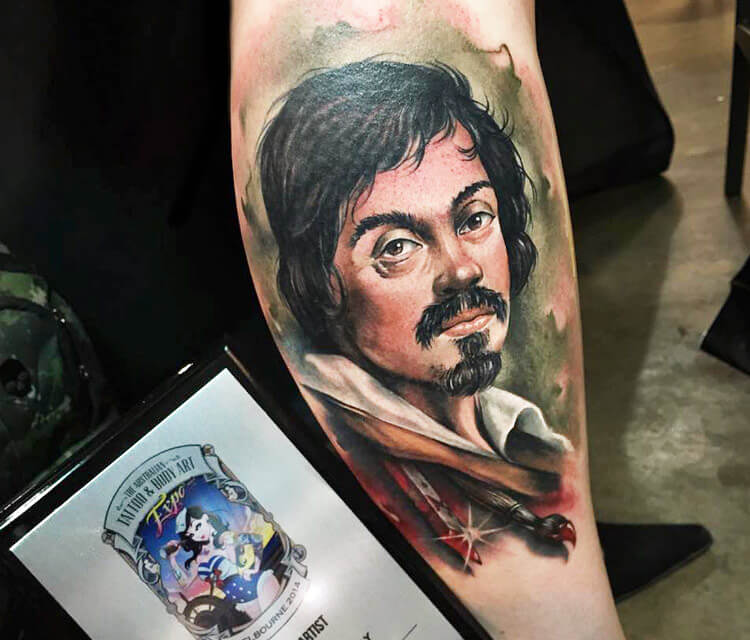 Self portrait tattoo of Caravaggio by Benjamin Laukis
