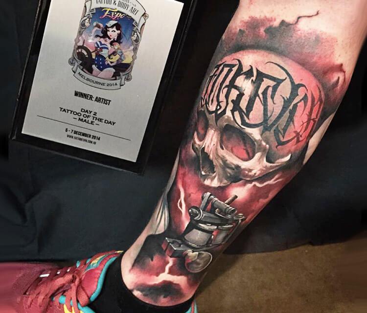 Skull tattoo by Benjamin Laukis