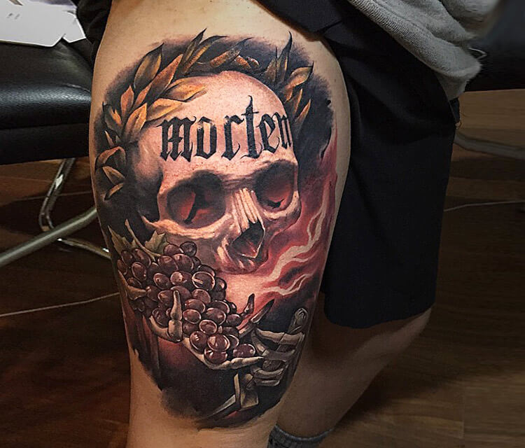 Morten Skull tattoo by Benjamin Laukis