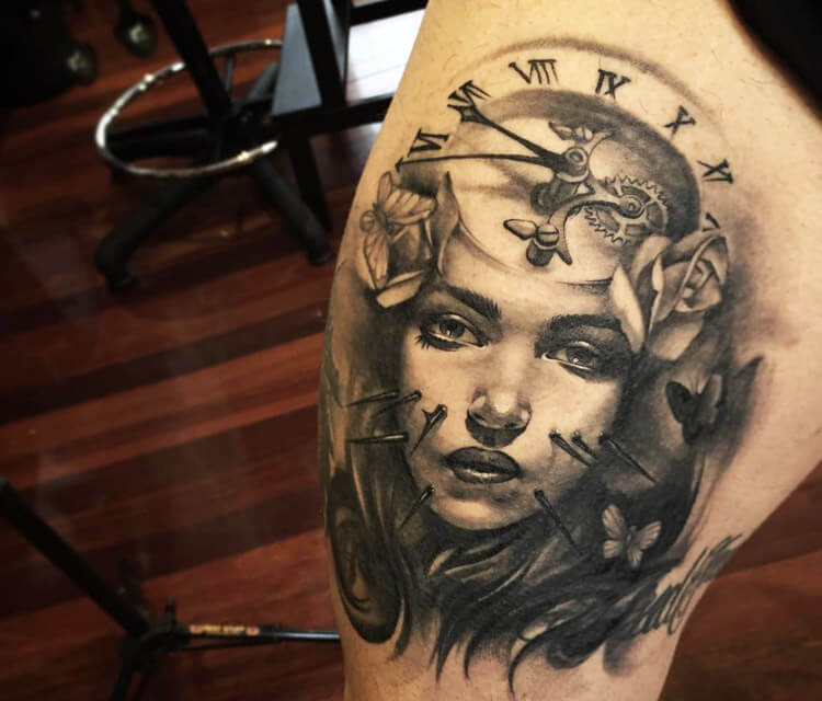 Time Face tattoo by Benjamin Laukis
