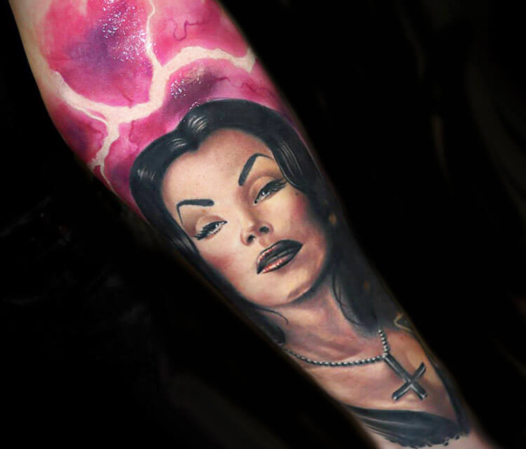 Tattoo of Vampira woman by Benjamin Laukis
