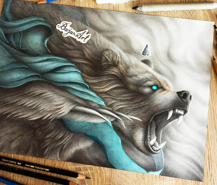 Wild Bear color drawing by Bajan Art