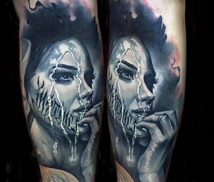 Tattoo Of Woman Face By Benjamin Laukis