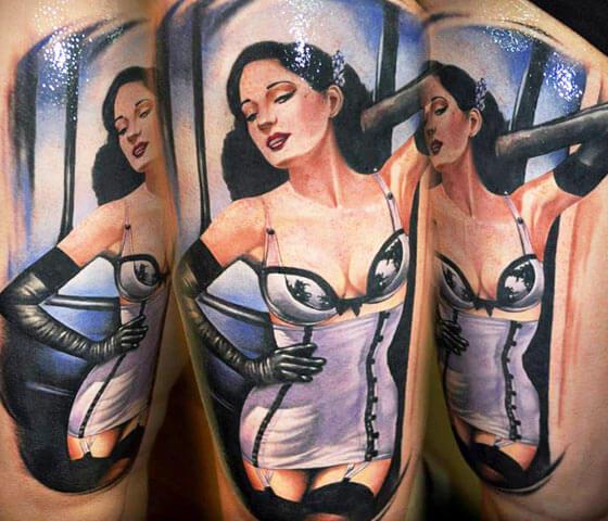 Pin-up woman tattoo by Benjamin Laukis