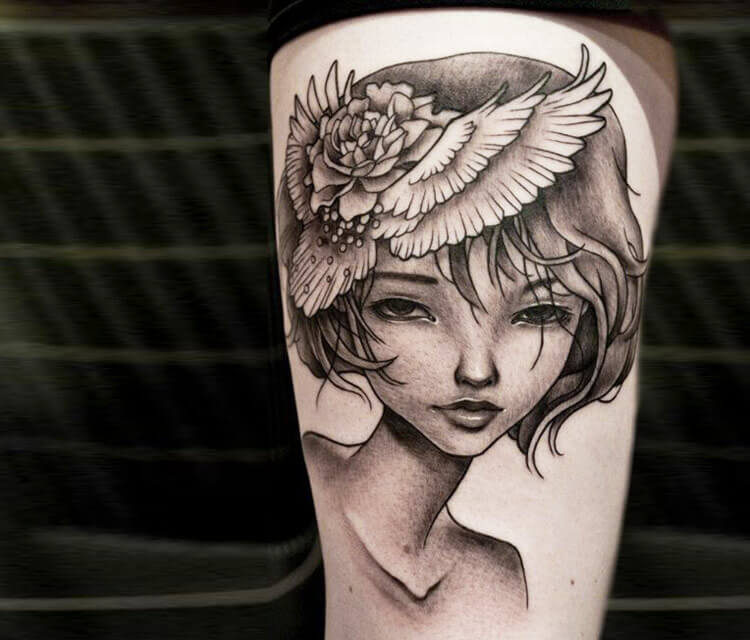 Woman portrait tattoo by Benjamin Laukis