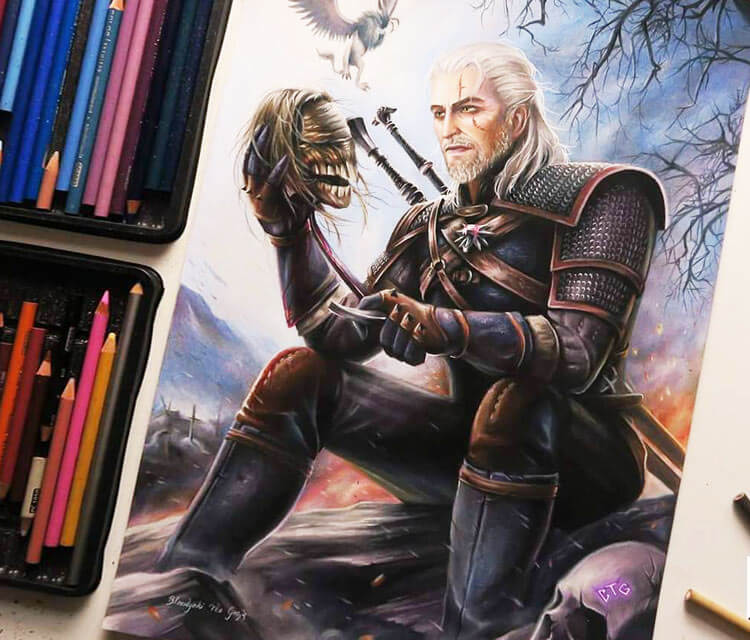 Geralt color drawing by Blondynki Tez Graja