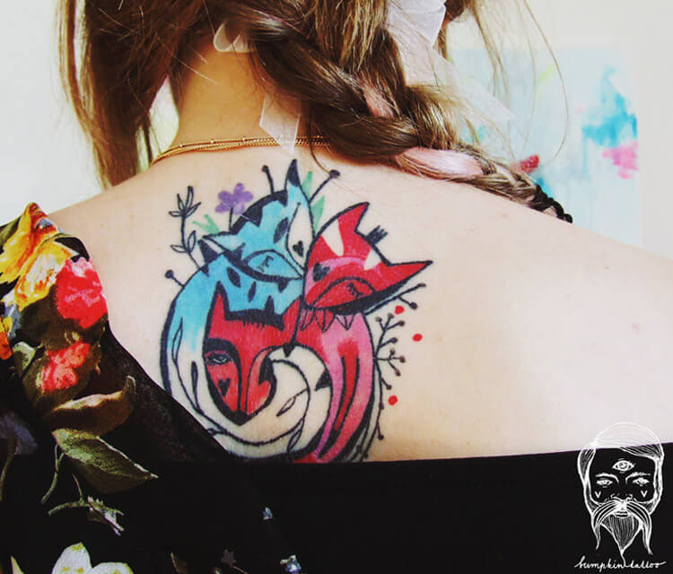 Fox love tattoo by Bumpkin Tattoo
