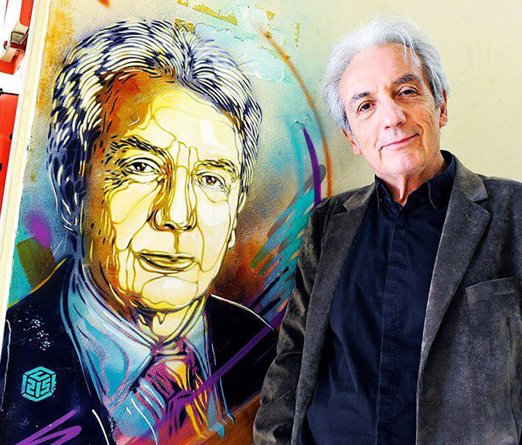 Albert Fert posing in Saclay by C215