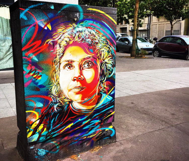 Bon Dimanche streetart by C215