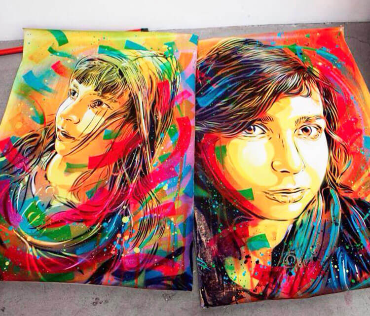 Abstract portrait by the French artist C215