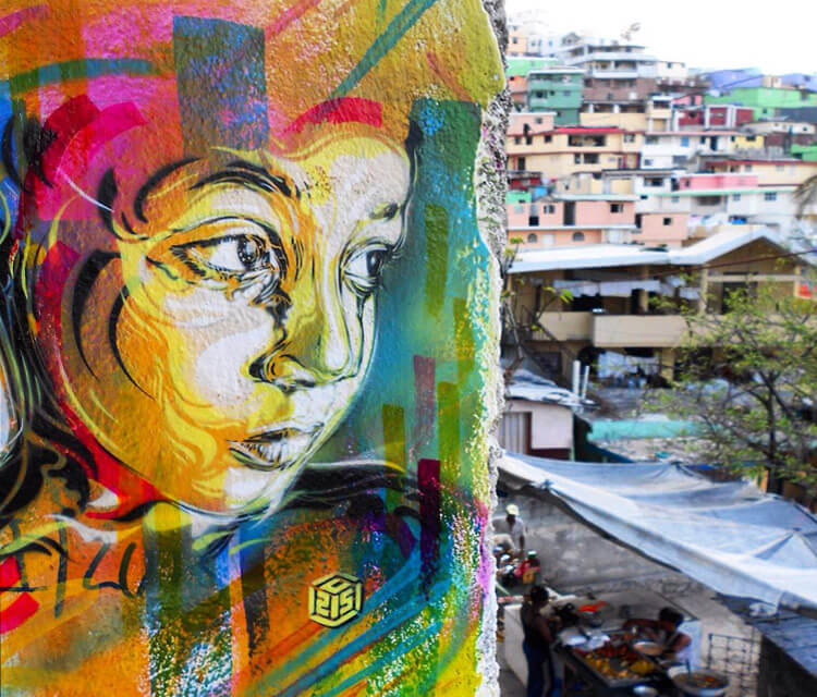 Abstract portrait by C215 in Haiti