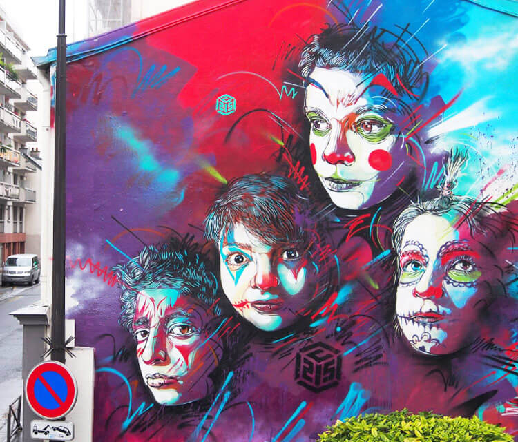 Streetart works in Paris by the French artist C215