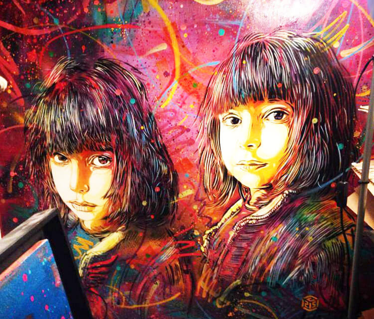 Abstract child portrait by the French artist C215