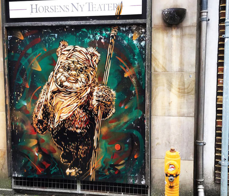 Ewok from Star Wars streetart by C215