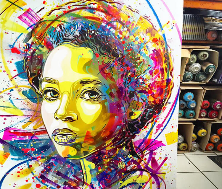 Girl portrait streatart by C215