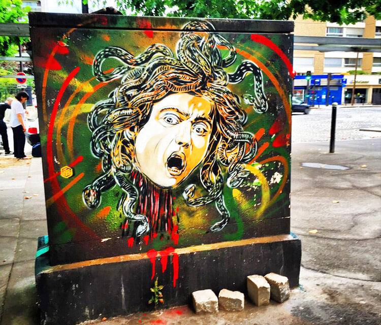 Medusa  in Paris 13 streetart by C215