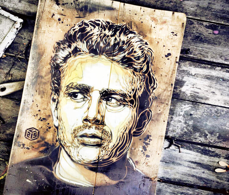 Logan Hicks painting by C215