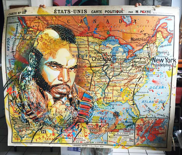 Poster with Mister T by C215