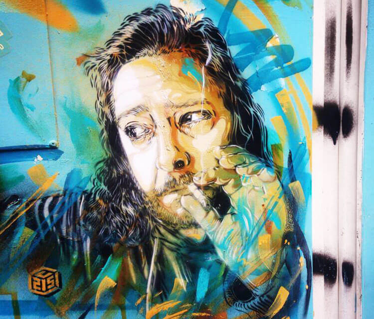 Abstract portrait Philippe Bonan by C215