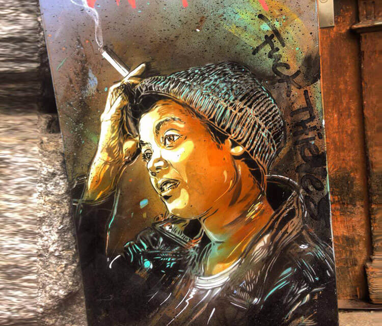 Abstract portrait by C215 in Zuerich