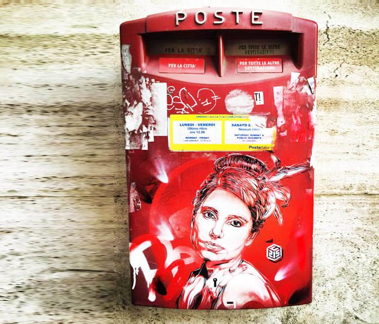 Postbox streetart by C215