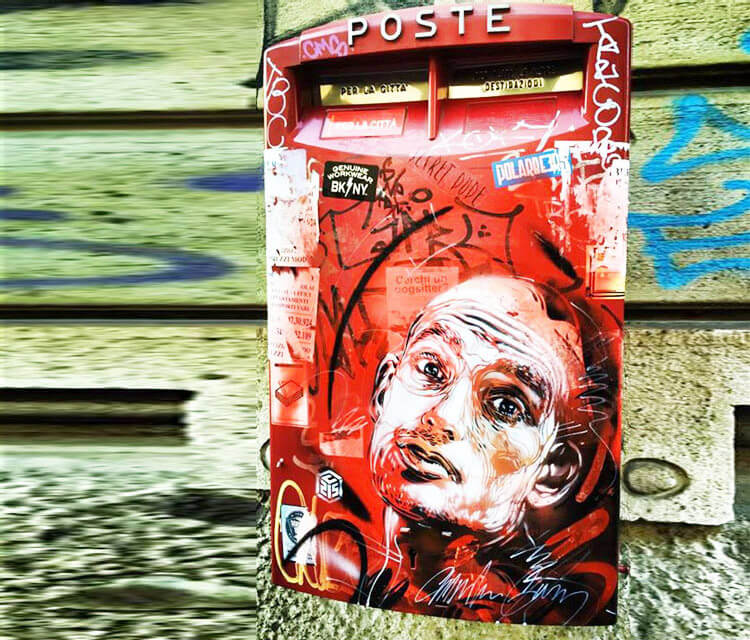 Postbox in Milano streetart by C215