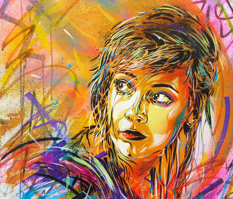 Abstract work by streetart artis C215, France