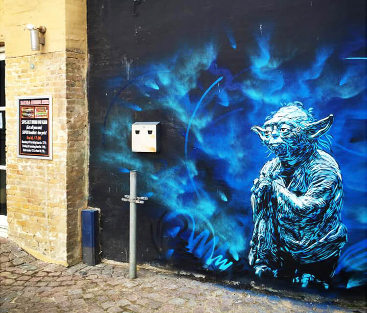 Yoda from Star Wars streetart by C215