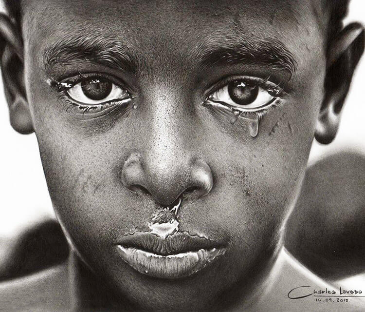 African boy drawing by Charles Laveso