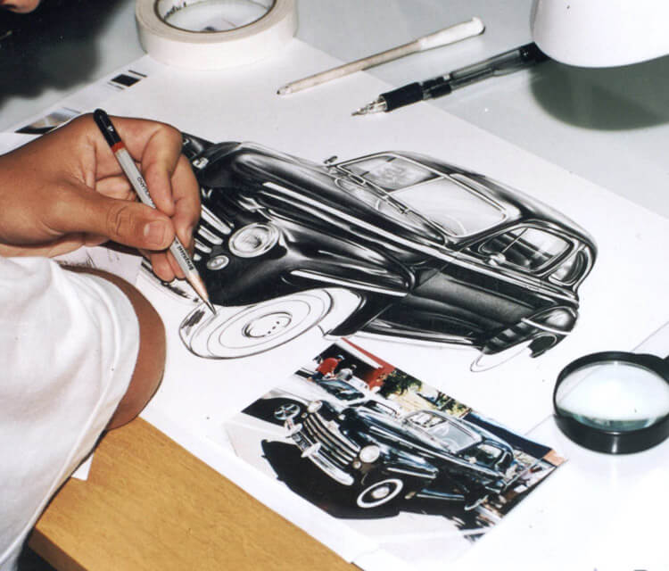 At work car drawing by Charles Laveso