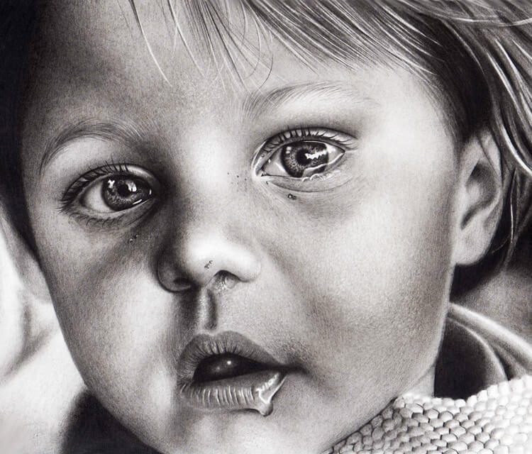 Baby portrait drawing by Charles Laveso