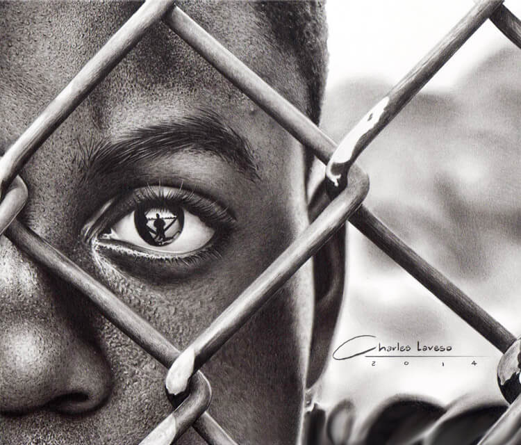 Boy behind the fance drawing by Charles Laveso