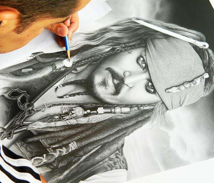 Captain Jack Sparrow drawing by Charles Laveso