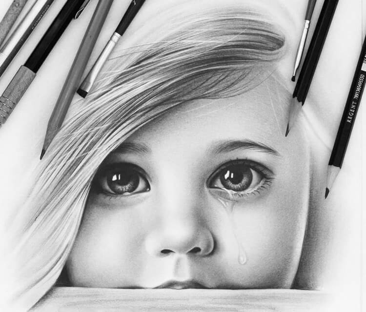 Child face drawing by Charles Laveso