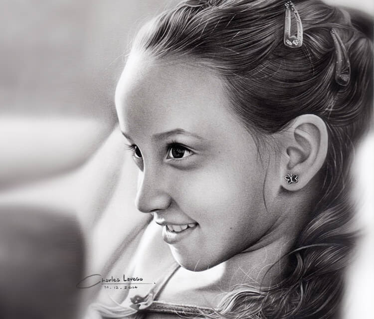 Girl portrait drawing by Charles Laveso