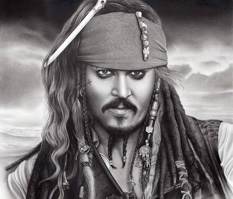 Johny Depp as Jack Sparrow drawing by Charles Laveso